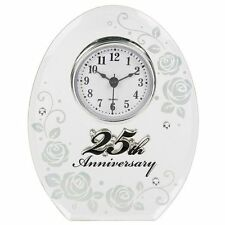 25th Wedding Anniversary Oval Clock/ lovely Silver Gift - 17850