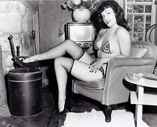 Bettie Page Posing in Chair & Ottoman  5 x 7 Photograph