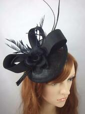Black Satin Bow Sinamay Disc Fascinator - Occasion Wedding Races Hat Funeral