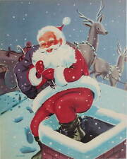 vintage art Santa on Roof going in Chimney