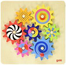 Zahnradspiel Goki Holz Zahnräder Kinder Spielzeug Motorik Spiel Spass 8-teilig