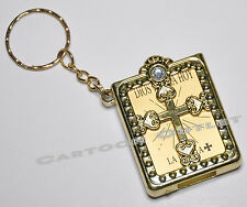24 PC REAL MINI BIBLES KEY CHAINS RINGS GOLD SPANISH BAPTISM COMUNION FAVORS