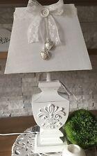 Tischleuchte 55 cm XL Stehlampe Holzfuß mit Ornament Lampe Shabby Chic Weiß ��