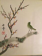 Stile Orientale dipinto ad Acquerello di un piccolo Uccellino Su Un Ramo