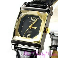 Omax Ladies Hematite Pl Seiko Movt Cut Glass Golden Mineral Leather Watch CN7804