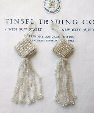 Pair Vintage/Antique Art Deco Victorian Glass Beaded Tassel Fringe 3 3/4""