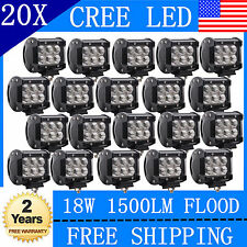 20X 4INCH 18W CREE LED Work Light Bar Flood Offroad Fog Lamp 4WD SUV Pickup Hot!
