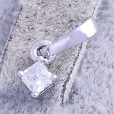 Womens korean jewelry small Square clear crystal white Gold Plated pendant