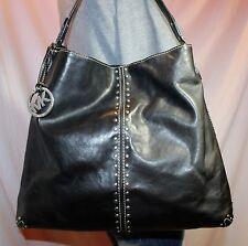 MICHAEL KORS Black Large Leather Shoulder Hobo Tote Satchel Slouch Purse Bag