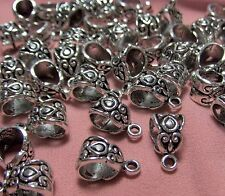 JEWELRY MAKING SUPPLIES BULK LOT OF 50 PENDANT BAILS-ORNATE SILVER TONE METAL-
