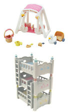 Sylvanian Families - Triple Bunk Bed Set & Baby Swing Set Sold Together