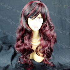 Simply Gorgeous Black mix Burgundy wavy Long Ladies Wigs Skin Top Hair WIWIGS UK