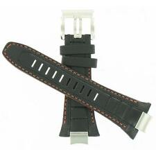Seiko 32mm Black Leather w/ Orange Stitches 4A1R1JT Watch Band AU07619N