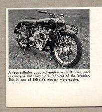 1947 Magazine Photo Wooler 4 Cylinder Shaft Drive Motorcycles Made in Britain