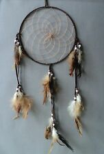 DREAMCATCHER APACHE INDIAN BROWN traditional native dream catcher LARGE suede