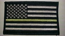 """Thin Green Line USA Flag Patch velcro Patch 3.5"""" X 2"""" Military subdued"""