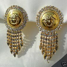 vintage GIANNI VERSACE Large gold tone Medusa and rhinestone clip-on earrings