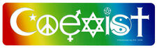 Coexist In A Rainbow - Magnetic Peace Bumper Sticker / Decal Magnet