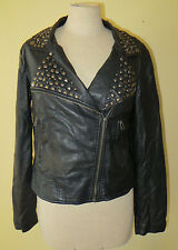 Forever 21 Studded Faux Leather Motorcycle / Punk Style Jacket Size Large Coat