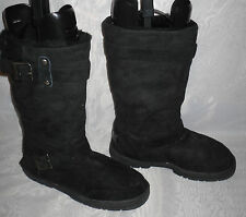 FLEX &SOFT Black Pull On Textile Flat Snow Winter/Mid Calf Boots Size:4/37