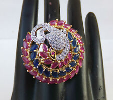American Style Peacock Ruby Jewelry Indian Global Fashion Bridal Ring Adjustable