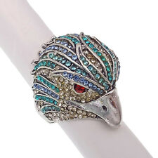 Owl Cocktail Stretch Finger Ring Costume Jewelry Rhinestone Blue Silver Tone 4d
