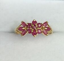 14k Solid Yellow Gold Cute Small Flower Band Ring Natural Ruby 1.0TCW, Sz 7.75