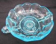 "Blue Depression Glass Bowl 5"" X 2"" 7"" with Ring Handles Scalloped Edge BEAUTIFUL"