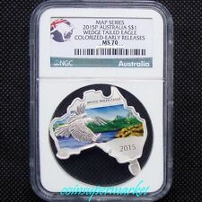 2015P Australia Map Shaped Series Eagle 1oz Silver Colorized Coin NGC MS70 COA !
