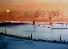 "SUPERB ORIGINAL MARTIN DAVIS ""Winter Dawn"" Snow Landscape PAINTING"