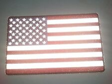 "(B28) Large REFLECTIVE AMERICAN FLAG 10"" x 6.25"" iron on Back patch (3008)"