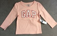 GAP LONG SLEEVE PALE PINK T.SHIRT WITH WHITE GAP LOGO ACROSS FRONT-12-18m - BNWT