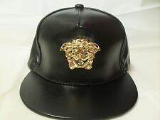 Medusa gold buckle 3D vintage Black full patent leather DIY hat strapback cap