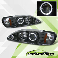 [LED Halo] 1994 1995 1996 1997 1998 Ford Mustang Projector Black Headlights Pair