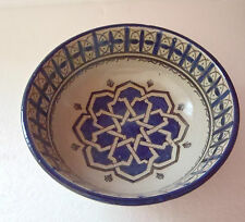 TRADITIONAL HAND PAINTED CERAMIC FRUIT / SALAD BOWL * FES POTTERY