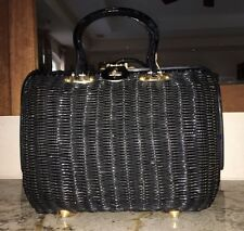 Vintage Black Lucite Wicker Double Handle Lady Bag Purse VGUC