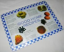 NEW TEXTURED GLASS CUTTING CHOPPING BOARD GOOD HOME RECIPES BLUE CHECK APOLLO L