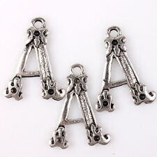 35pcs 145429 Hotsale Silver Tone Carved Dog Paw Letter A Charms Alloy Pendants