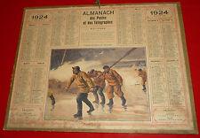 Almanach ptt calendrier de la poste 1924 equipe du bateau de sauvetage