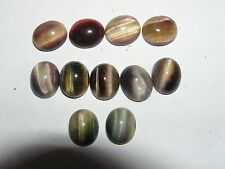 LOT 0F 11 6 X 8 MM CABOCHONS TIGEREYE DYED PURPLE RED GREEN PURCHASED 1970'S