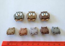 Novelty Owl Buttons Large small brown grey owls  mod 5817 Dress It Up Buttons
