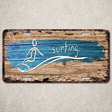 LP0265 Surfing wood Rust Auto License Plate Home boy Room Wall Door Decor sign