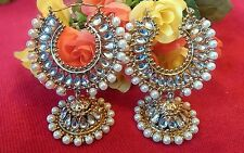 New gold hoop jhumki! Bollywood Costume Jewellery Earrings Gold White Pearls