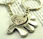 FD515 Rhinestone Hearts With Head Love Romantic Couple Keychain Key Ring ~2pcs~