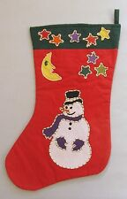 VTG Crate and Barrel Tag Textiles Christmas Stocking Snowman Handstitched 1993