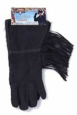 Mens Cowboy Gloves Faux Suede Costume Black or Brown Western Rodeo Adult NEW