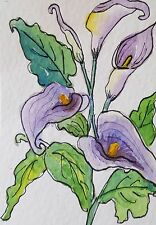 "ACEO Original Watercolor  by J Irwin    ""Calla Lilies""    Flowers  Garden"