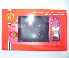 MANCHESTER UNITED FC FOOTBALL CLUB EMBROIDERED MONEY WALLET, CUFFLINKS, KEYRING