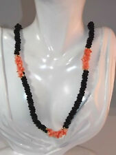 "Twisted 3 Bead Strand Rope Salmon Coral Black Color Glass 23"" Necklace 10g 3"