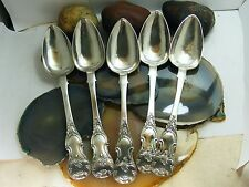 Antique Fancy Russian 84 Silver Large SERVING SPOONS Set 5 Engraved 1873
